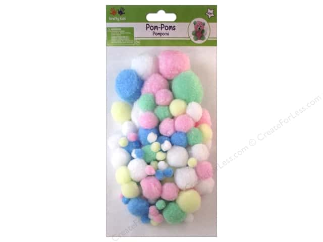 Multicraft Krafty Kids Pom Poms Jumbo Pack Pastel Assorted 90pc