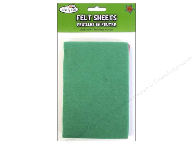 "Multicraft Krafty Kids Felt Sheets 4""x 6"" Brights 12pc"