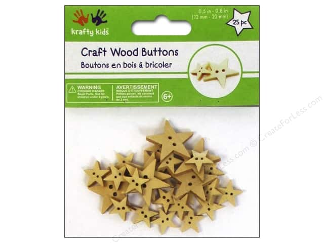 Multicraft Krafty Kids Craftwood Button Natural Stars 25pc