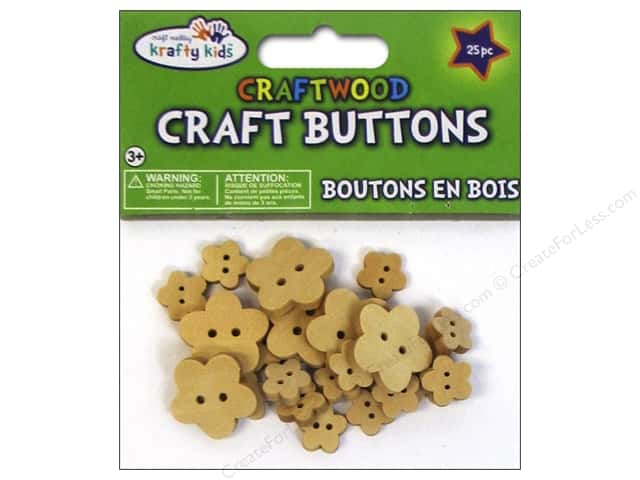 Multicraft Krafty Kids Wood Craft Button Natural Flowers 25pc