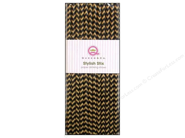 Queen&Co Stylish Stix Chevron Black/Kraft 25pc
