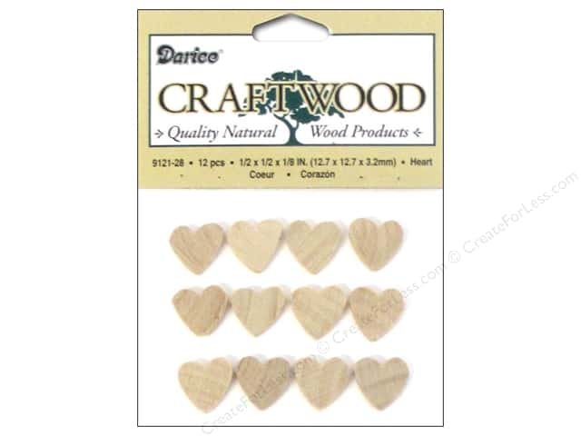 Darice Wood Craftwood Heart 1/2 in. 40 pc.
