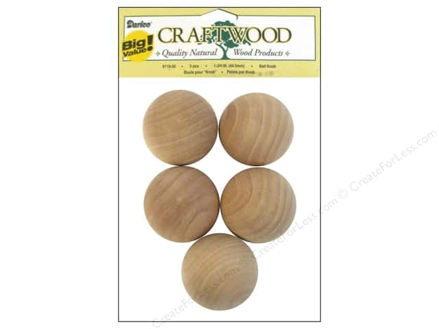 Darice Wood Craftwood Ball Knob 1 3/4 in. 5 pc.