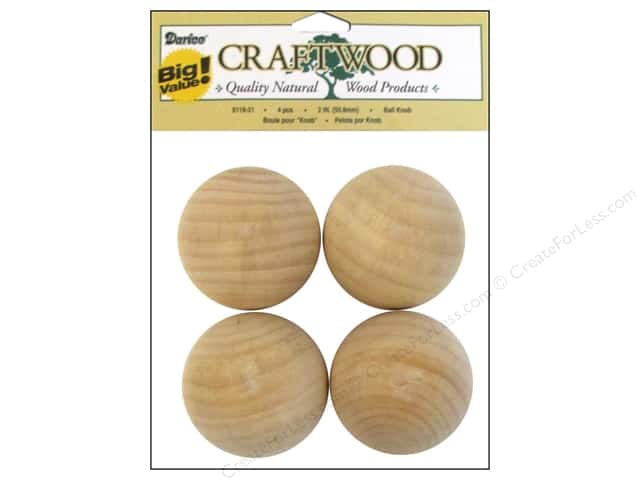 Darice Wood Craftwood Ball Knob 2 in. 4 pc.