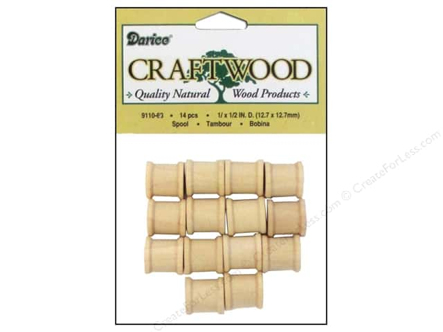 Darice Wood Craftwood Spool 1/2 x 1/2 in. 14 pc.