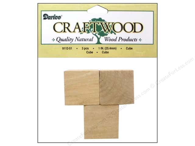 Darice Wood Craftwood Cube 1 in. 3 pc.