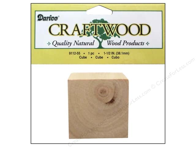 Darice Wood Craftwood Cube 1 1/2 in. 1 pc.