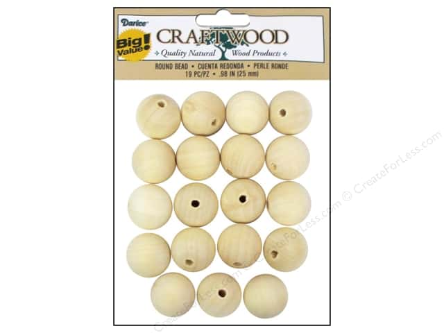 Darice Wood Craftwood Round Bead 1 in. 19 pc.