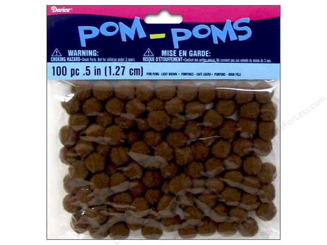Darice Pom Poms 1/2 in. (13 mm) Light Brown 100 pc.