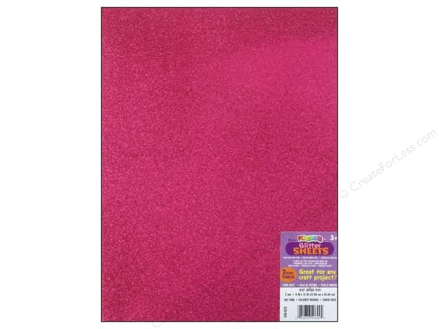 Foamies Foam Sheet 9 x 12 in. 2 mm. Glitter Hot Pink