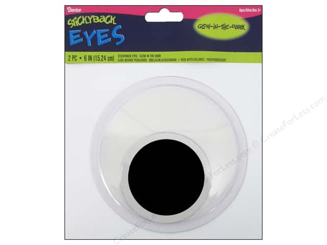 Googly Eyes by Darice Sticky Back 6 in. Glow In The Dark 2 pc.