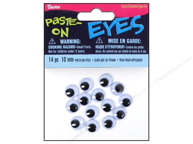 Darice Googly Eyes Paste-On 10 mm Black 14 pc.