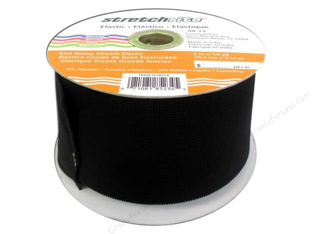 Stretchrite Corset Repair Elastic 3 in. x 10 yd. Black (10 yards)
