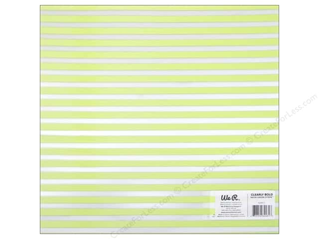 We R Memory Keepers Acetate Sheet 12 x 12 in. Clearly Bold Neon Green Stripe (12 sheets)
