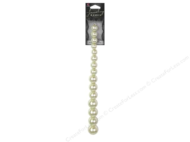 Cousin Basics Pearl Beads 3/8 to 3/4 in. Graduated Ecru 15 pc.