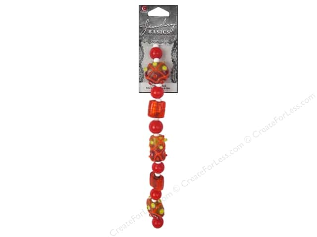 Cousin Basics Glass Beads Strand 6 1/2 in. Dots Orange/Yellow