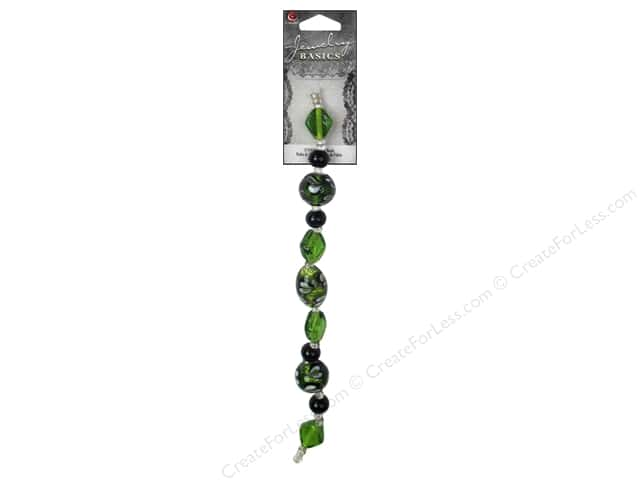 Cousin Basics Glass Bead Strand 7 in. Swirl Green