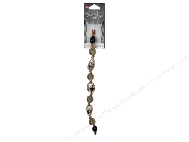 Cousin Basics Glass Bead Strand 7 1/2 in. Smokey Black with Black Diamond