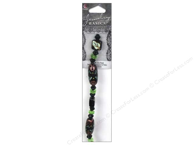 Cousin Basics Glass Beads 7/8 in. Painted Tube Black