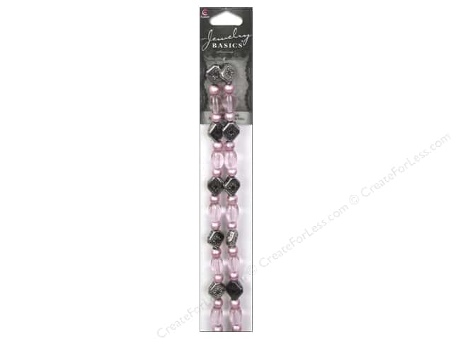 Cousin Basics Glass and Metal Beads 3/8 in. Oval Pink/Silver