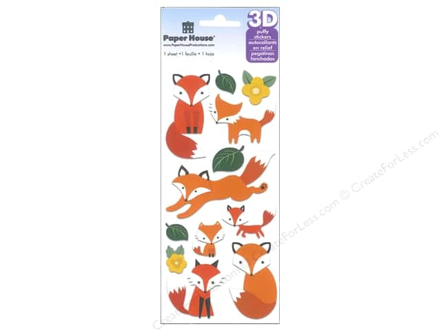 Paper House Sticker 3D Foxes