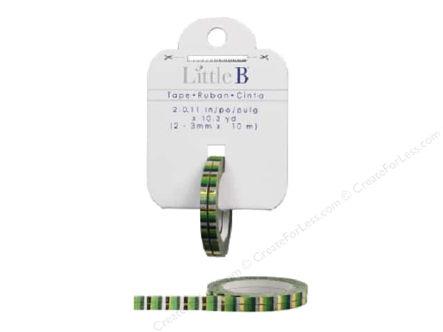 Little B Decorative Paper Tape 1/8 in. Gold Foil Green Stripes 2 pc.