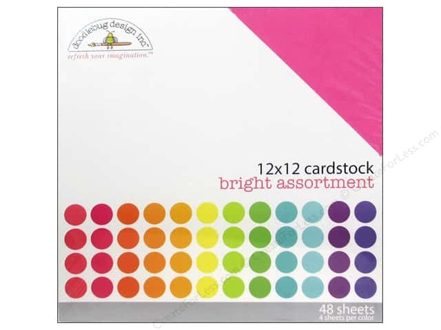 Doodlebug 12 x 12 in. Cardstock Pack Textured Bright
