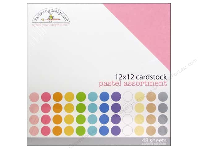 Doodlebug 12 x 12 in. Cardstock Pack Textured Pastel