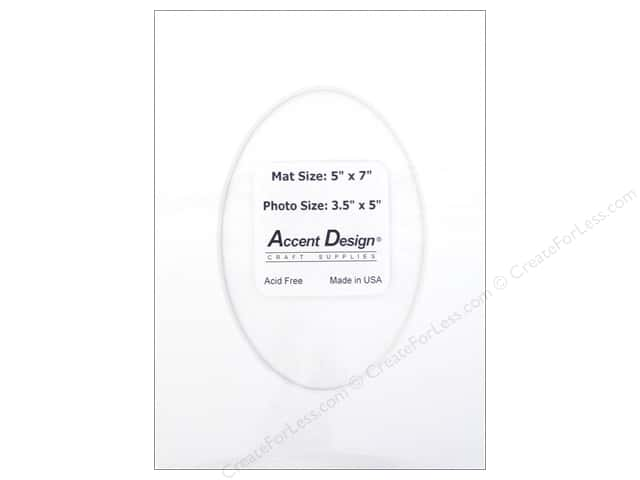 Pre-cut Oval Photo Mat Board by Accent Design White Core 5 x 7 in. for 3 1/2 x 5 in. Photo White