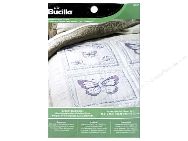 Bucilla Stamped Cross Stitch Quilt Block 15 in. Butterfly 6 pc.