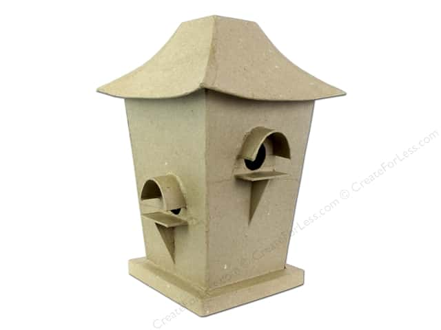 Paper Mache Birdhouse Square Tall by Craft Pedlars