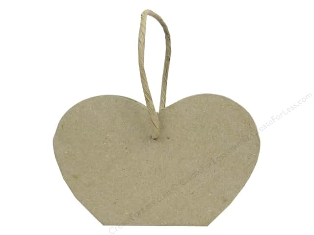 PA Paper Mache Heart Basket with Paper Twine Handle 5 1/2 in.