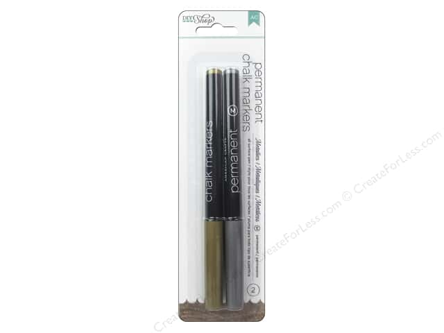 American Crafts DIY Shop 2 Chalk Markers Medium Point 2 pc. Gold & Silver