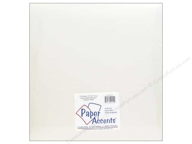 Paper Accents Adhesive Vinyl 12 x 12 in. Removable Cameo White (12 sheets)