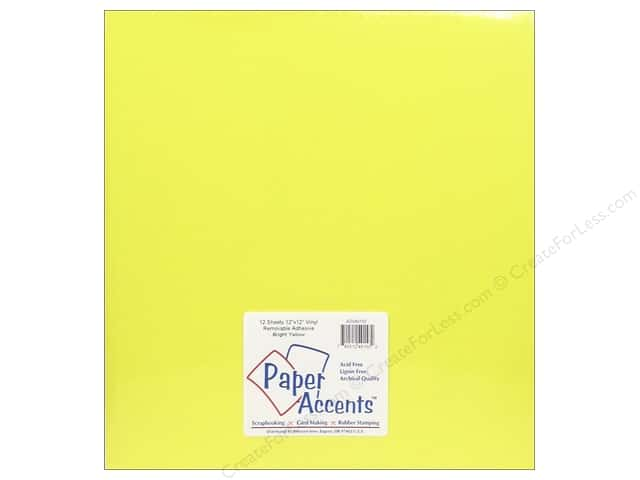 Paper Accents Adhesive Vinyl 12 x 12 in. Removable Bright Yellow (12 sheets)
