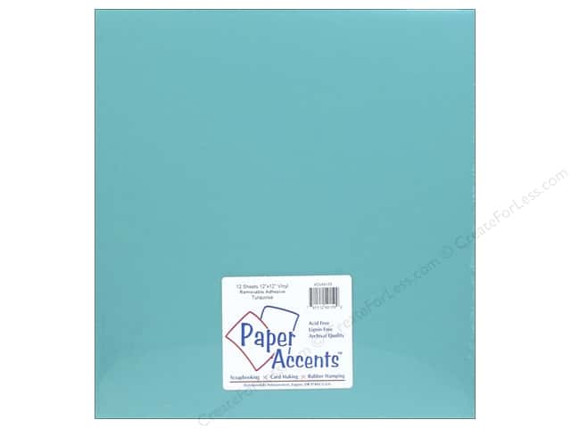 Paper Accents Adhesive Vinyl 12 x 12 in. Removable Turquoise (12 sheets)