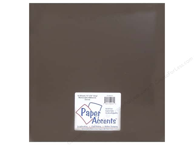 Paper Accents Adhesive Vinyl 12 x 12 in. Removable Cocoa (12 sheets)