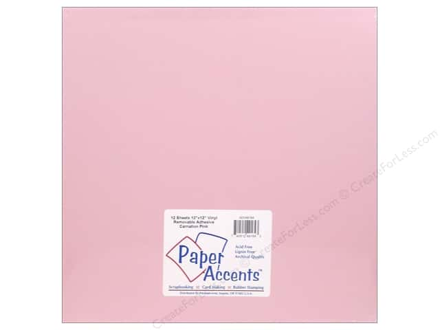 Paper Accents Adhesive Vinyl 12 x 12 in. Removable Carnation Pink (12 sheets)