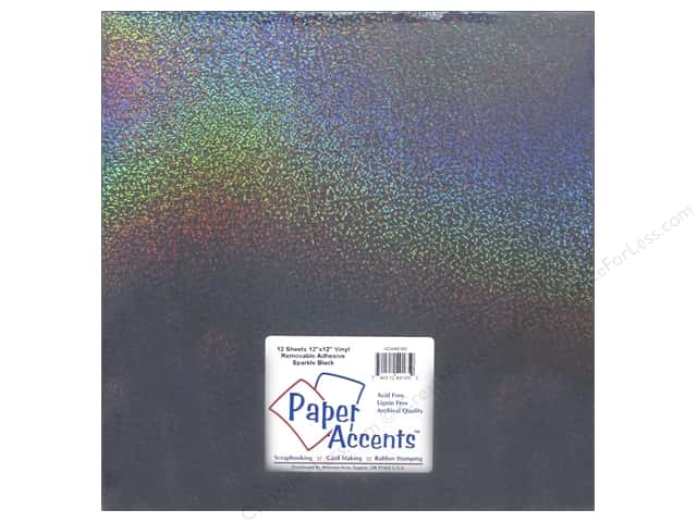 Paper Accents Adhesive Vinyl 12 x 12 in. Removable Sparkle Black (12 sheets)