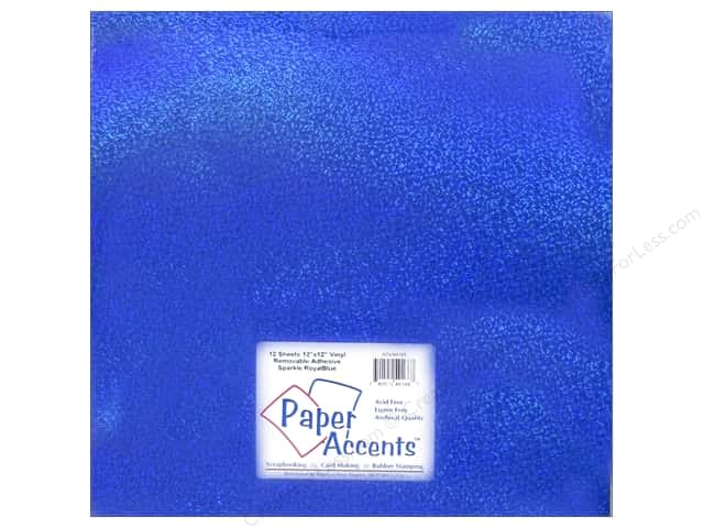 Paper Accents Adhesive Vinyl 12 x 12 in. Removable Sparkle Royal Blue (12 sheets)