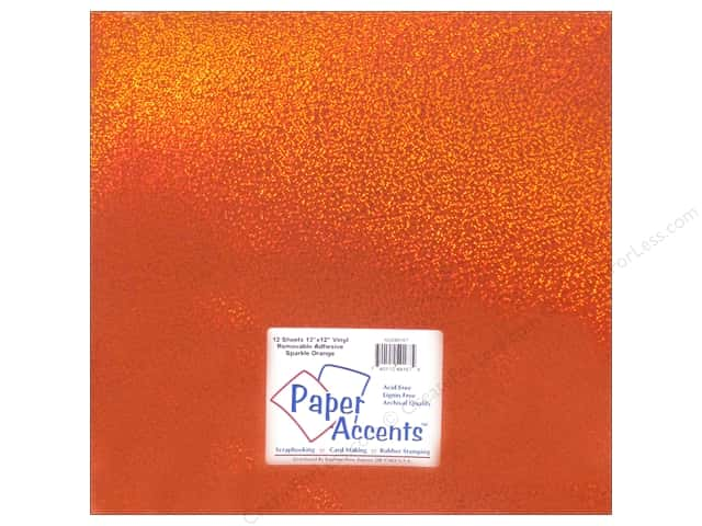 Paper Accents Adhesive Vinyl 12 x 12 in. Removable Sparkle Orange (12 sheets)