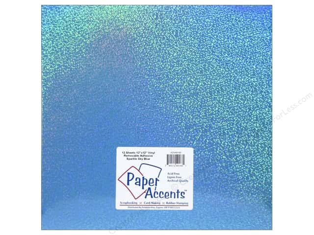 Paper Accents Adhesive Vinyl 12 x 12 in. Removable Sparkle Sky Blue (12 sheets)