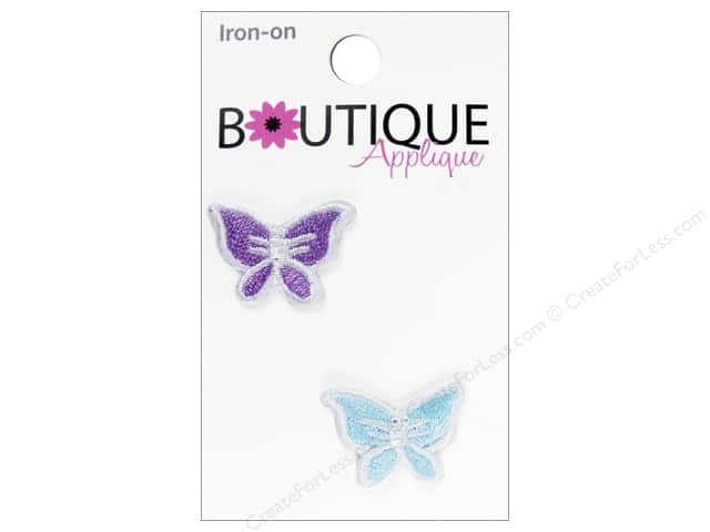 Blumenthal Boutique Applique 3/4 in. Purple & Aqua Butterfly 2 pc.