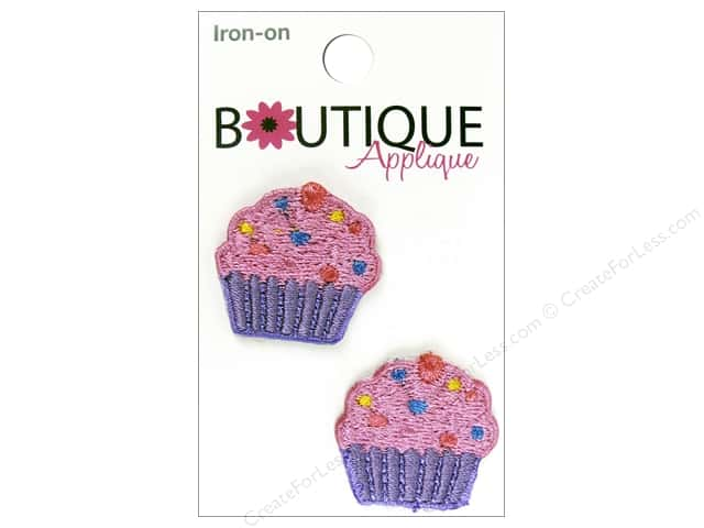 Blumenthal Boutique Applique 1 in. Pink & Purple Cupcakes 2 pc.