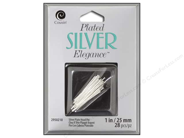 Cousin Elegance Head Pins 1 in. 22 pc. Silver Plate