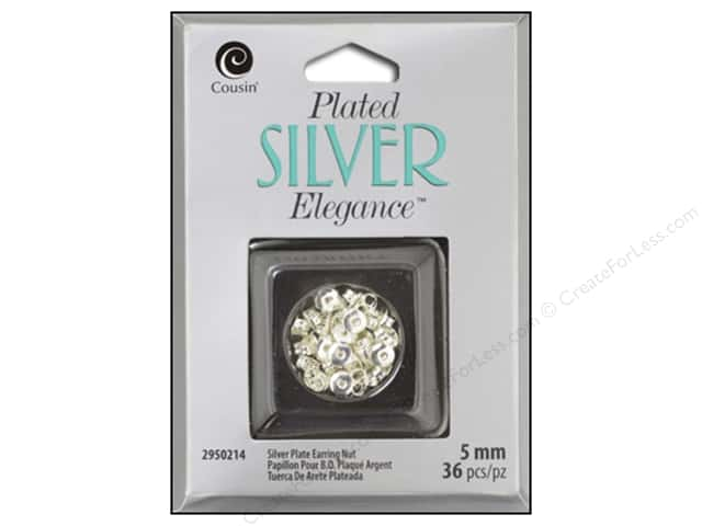 Cousin Elegance Silver Plated Earring Nut 5mm 30pc