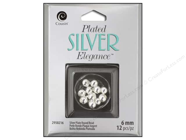 Cousin Elegance Metal Bead 6 mm Round 10 pc. Silver Plate