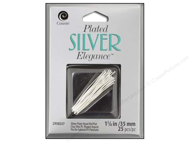 Cousin Elegance Head Pins 1 1/4 in. 25 pc. Silver Plate