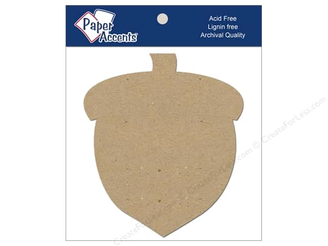 Paper Accents Chipboard Shape Acorn 8 pc. Natural