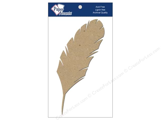 Paper Accents Chipboard Shape 8 in. Feather 4 pc. Natural